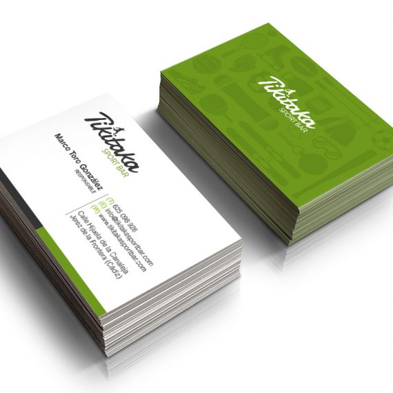 Diseño de tarjetas realizados para Tikitaka Sport Bar